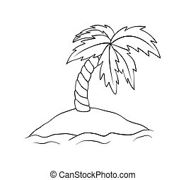 Deserted island with palm tree. Vector isle outline illustration isolated on white background. Coloring book for children.