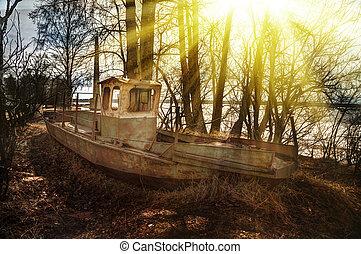Deserted rusty ship. - Deserted rusty ship on the coast ...