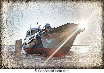 Deserted rusty ship. - Deserted rusty ship on the coast of ...