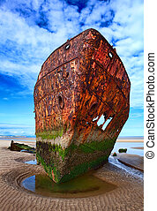 Deserted rusty ship