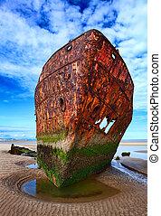Deserted rusty ship on the coast of a ocean