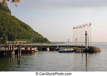 Deserted scene at Garda Lake Garda Italy in the autumn