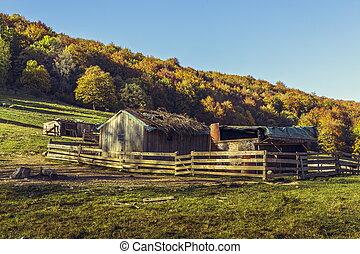 Deserted sheepfold - Autumnal landscape with deserted ...