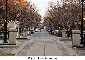Deserted street in downtown regina