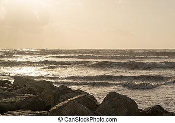 Deserted Sunrise Beach with Waves