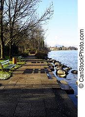 Walking path along Annecy lake in France
