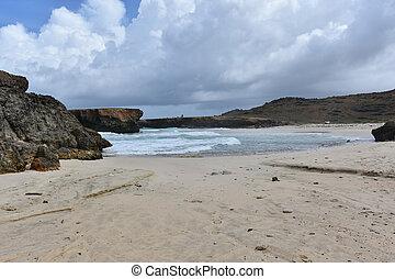 Deserted White Sand Beach on the East Coast of Aruba
