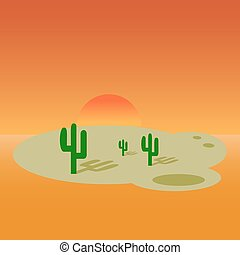 deserto, bandiera, cartone animato, paesaggio, design.