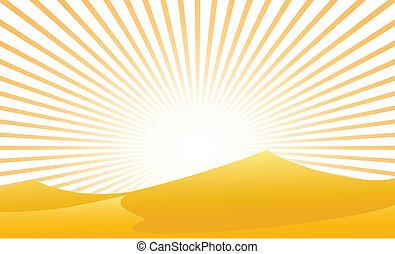 deserto, con, raggio sole