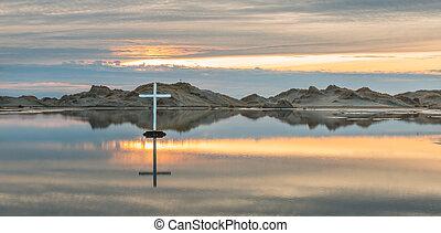 deserto, lago, croce