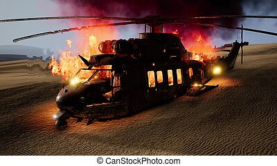 deserto, militare, bruciato, elicottero, tramonto