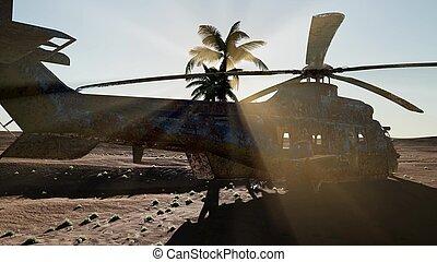 deserto, militare, vecchio, arrugginito, elicottero, tramonto