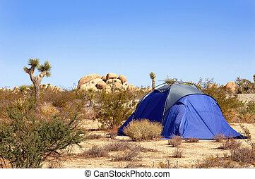 deserto mojave, acampamento tendeu