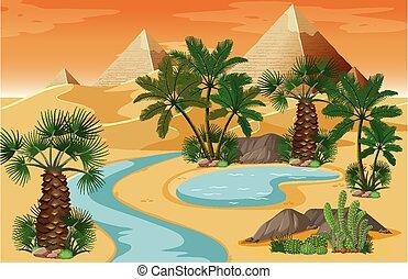 deserto, paesaggio natura, scena, piramide, oasi