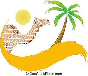 deserto palma, vettore, albero, cammello