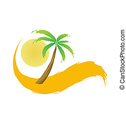 deserto palma, vettore, albero