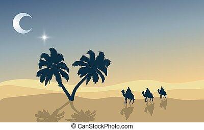 deserto palma, viaggiatori, albero, ramadan
