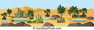 deserto, palme, paesaggio natura, scena, oasi