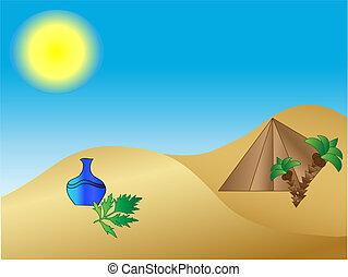 deserto, piramide, vaso, palmas
