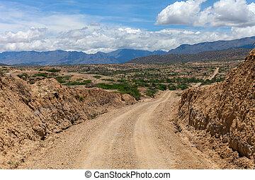 deserto, road:, uno, ruvido, sporcizia, modo