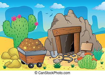 deserto, tema, antigas, mina, 4