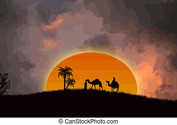 deserto, tramonto, sahara