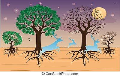 deserto, verde, asciutto, albero, foglie