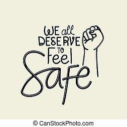 deserve, tudo, texto, sentir, vetorial, cofre, desenho, nós, punho