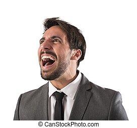 desesperado, hombre de negocios, gritos