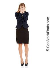 desesperado, mujer de negocios