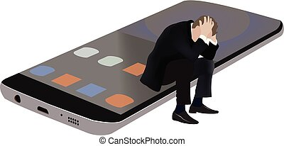 desesperado, teléfono, abajo, célula, persona, acostado,...