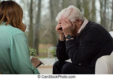 desespero, homem, durante, psicológico, terapia