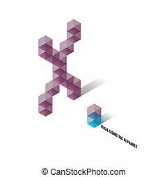 desetidolarová bankovka, isometric, -, pixel, abeceda