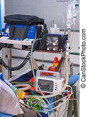 desfibrilador, y, médico, equipments, para, emergencia, servicio médico