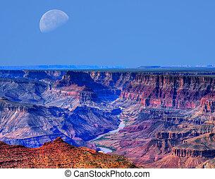 desfiladeiro, grandioso, lua