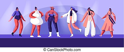 desfile de modas, haute, escena, crudo, alta costura, moderno, ropa, cima, niñas, llevando, plano, modelos, ilustración, él, se manifestar, caricatura, event., pasadizo, runway., vector, estante, o