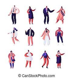 desfile de modas, haute, escena, pasadizo, alta costura, moderno, ropa, set., niñas, plano, modelos, vecotr, ilustración, se manifestar, diseñadores, caricatura, event., crudo, runway., estante, o