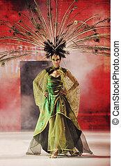 desfile de modas, mujer, pasadizo