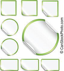 desfolha, adesivos, verde, borda