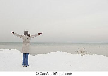 desfrutando, a, inverno