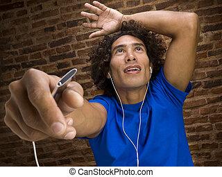 desfrutando, a, música