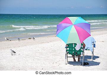 desfrutando, a, praia