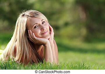 desfrutando, ao ar livre