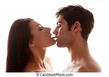 desfrutando, erótico, par, beijo