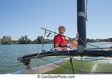 desfrutando, extremo, velejando, com, correndo, sailboat