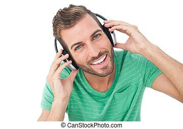 desfrutando, música, homem, close-up, jovem