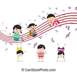 desfrutando, música, tocando, crianças