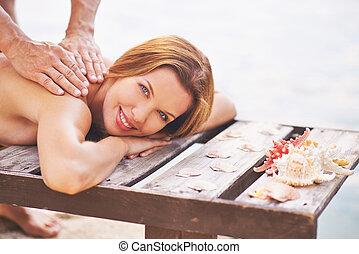 desfrutando, massagem