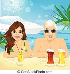 desfrutando, par, jovem, feriado, praia, feliz