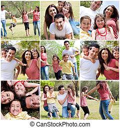 desfrutando, parque, família, feliz